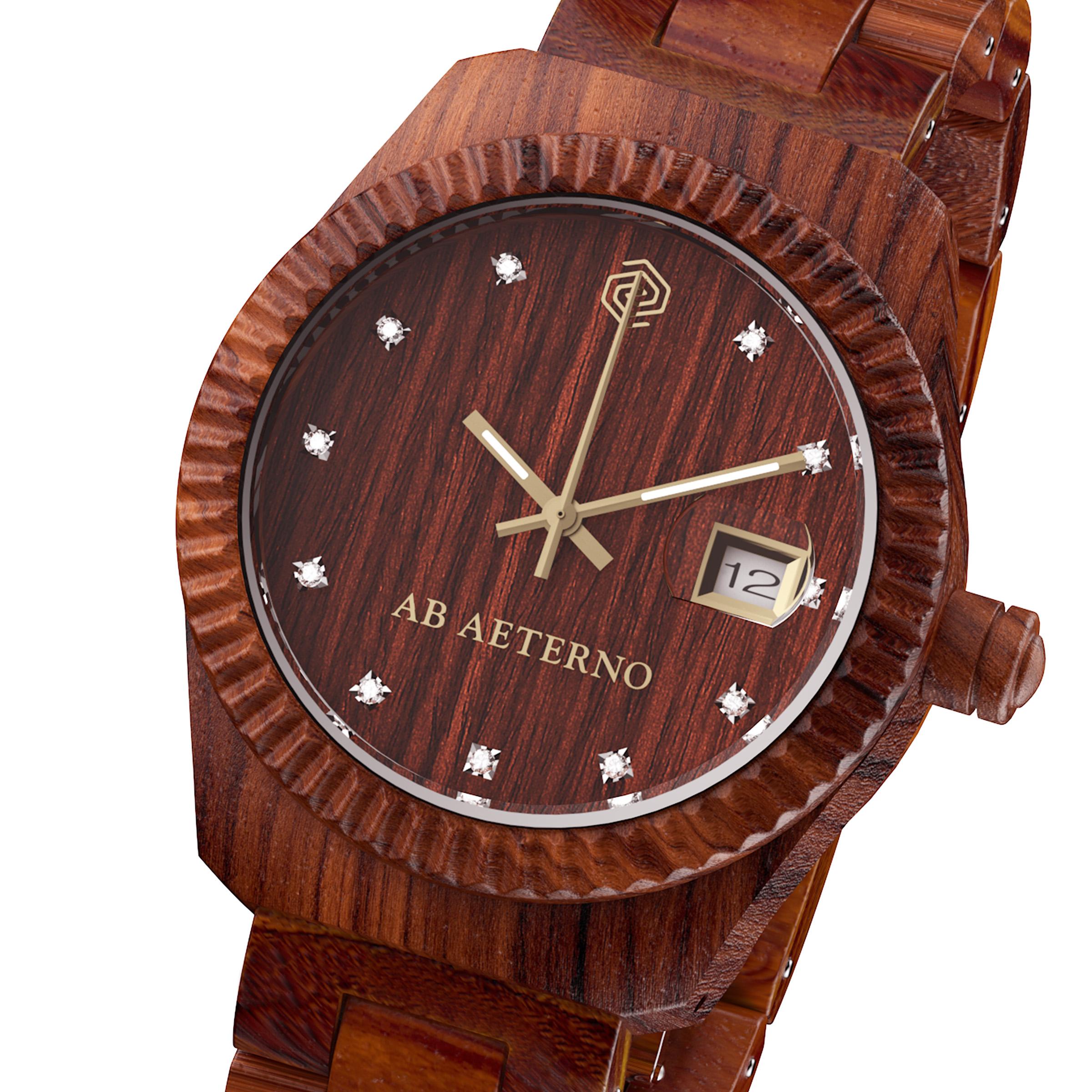orologio in legno di sandalo rosso aurora collezione sky